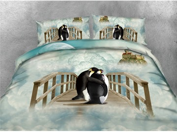 Penguin and Foggy Castle Printing 4-Piece Cotton 3D Bedding Sets/Duvet Covers