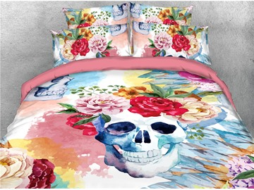 Skull and Flowers Digital Printing 3D 4-Piece Bedding Sets/Duvet Covers
