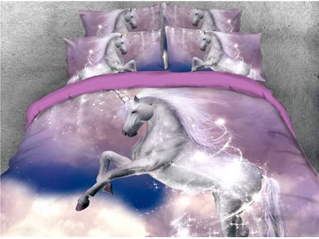 Shiny White Unicorn Digital Printing 3D 4-Piece Bedding Sets/Duvet Covers