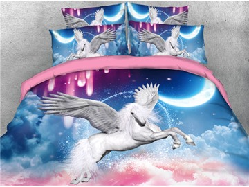 Flying Unicorn and Colorful Cloud Printing 3D 4-Piece Bedding Sets/Duvet Covers