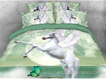 White Unicorn with Wings and Butterfly Digital Printing 3D 4-Piece Bedding Sets/Duvet Covers