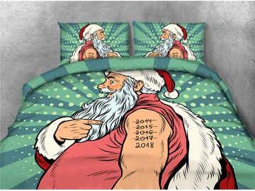 Santa Claus and 2018 Printing 4-Piece 3D Bedding Sets/Duvet Covers