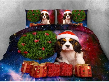 Christmas Gifts and Dog Galaxy Printing 4-Piece 3D Bedding Sets/Duvet Covers