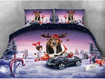 Christmas Dog and Sports Car Printing 4-Piece 3D Bedding Sets/Duvet Covers