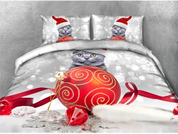 Christmas Red Ball and Cat Printing 4-Piece 3D Bedding Sets/Duvet Covers