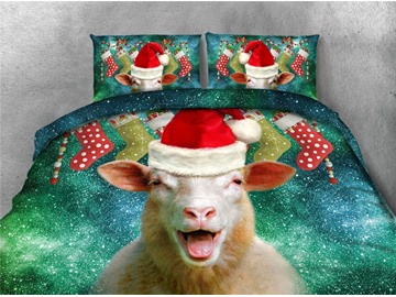Christmas Stocking and Sheep Green Galaxy Printing 4-Piece 3D Bedding Sets/Duvet Covers
