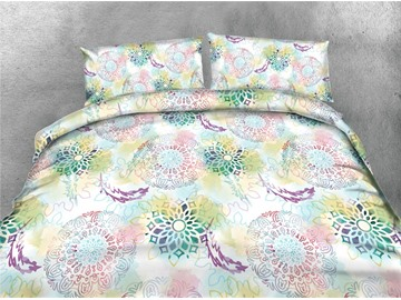 Watercolor Geometric Pattern Printing Cotton 3D 4-Piece Bedding Sets/Duvet Covers