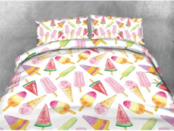 Colorful Ice Cream Digital Printing Cotton 4-Piece 3D Bedding Sets/Duvet Covers