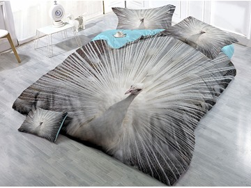 White Peacock Spreads its Tail Feathers Printing 4-Piece 3D Bedding Sets/ Duvet Covers