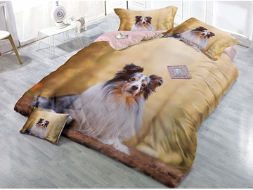 A Sitting Dog Printing Cotton 3D 4-Piece Yellow Bedding Sets/Duvet Covers