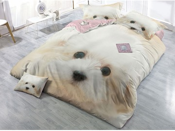 White Innocent Dog Printing Cotton 3D 4-Piece Bedding Sets/Duvet Covers