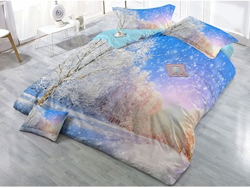 Dreamy Snow Covered Forest Scenery Printing White Cotton 4-Piece 3D Bedding Sets/Duvet Covers