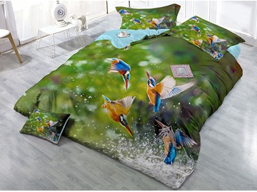 Flying Birds and Water 3D Green Printing Cotton 4-Piece Bedding Sets/Duvet Covers