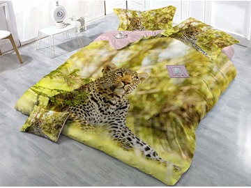 Leopard Looking at the Sky Yellow Printing Cotton 3D 4-Piece Bedding Sets/Duvet Covers