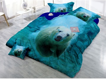 Polar Bear Under Water Blue Printing Cotton 4-Piece Bedding Sets/Duvet Covers
