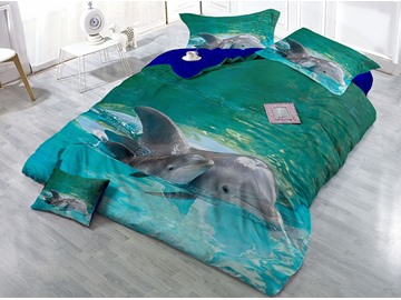 Dolphins Swimming in Sea 3D Blue Printing Cotton 4-Piece Bedding Sets/Duvet Covers