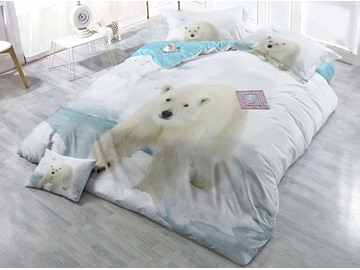 Polar Bear and Ice White Printing Cotton 3D 4-Piece Bedding Sets/Duvet Covers