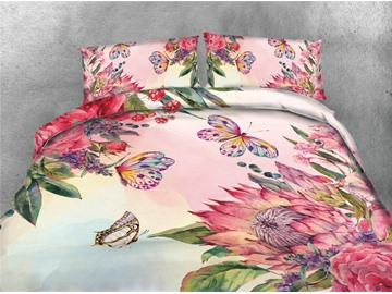 Pink Flowers and Butterfly Printing Cotton 4-Piece Bedding Sets/Duvet Covers