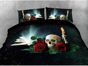 Skull and Glowing Book Printing Cotton 4-Piece 3D Bedding Sets/Duvet Covers