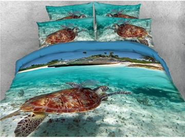 Turtle Swimming in the Limpid Ocean Printing Cotton 3D 4-Piece Bedding Sets/Duvet Covers