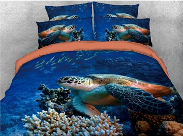 Turtle and Sea Creatures Printing Cotton 3D Blue 4-Piece Bedding Sets/Duvet Covers