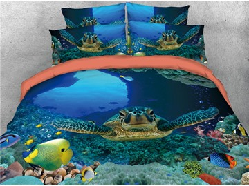 Turtle and Colorful Fish Blue Printing 3D 4-Piece Bedding Sets/Duvet Covers