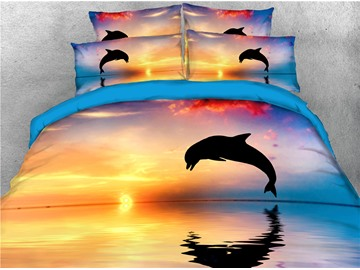 Jumping Dolphin and Sunset Printing Cotton 4-Piece 3D Bedding Sets/Duvet Covers