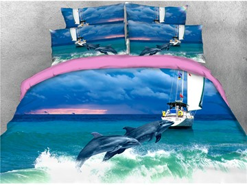 Dolphins Jumping Out of the Blue Water Printing Cotton 4-Piece 3D Bedding Sets/Duvet Covers