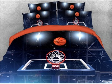Shoot A Basket Printing Cotton 3D 4-Piece Bedding Sets/Duvet Covers