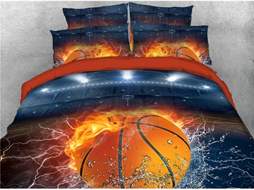 Basketball with Fire and Water Printing Cotton 3D 4-Piece Bedding Sets/Duvet Covers