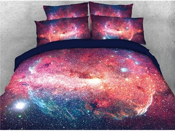 Red Starry Galaxy Printing Cotton 3D 4-Piece Bedding Sets/Duvet Covers