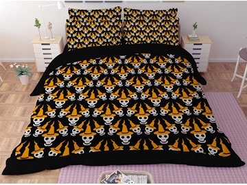 Skull with Yellow Hat Printing Polyester 3D 3-Piece Bedding Sets/Duvet Covers