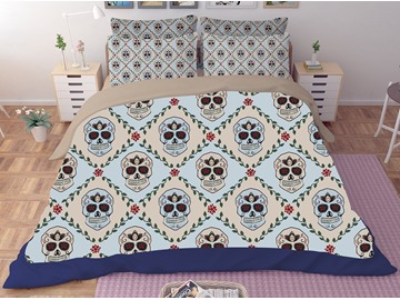 Skull and Diamond Lattice Printing Polyester 3D 3-Piece Bedding Sets/Duvet Covers