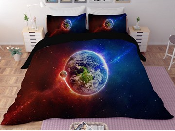 Amazing Earth Galaxy Printing Polyester 3D 3-Piece Bedding Sets/Duvet Covers