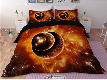 Celestial Body Galaxy Printing Polyester 3D 3-Piece Bedding Sets/Duvet Covers