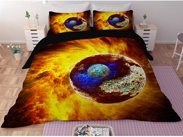 Planet Golden Galaxy Printing Polyester 3D 3-Piece Bedding Sets/Duvet Covers