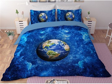 Earth and Blue Galaxy Printing Polyester 3D 3-Piece Bedding Sets/Duvet Covers