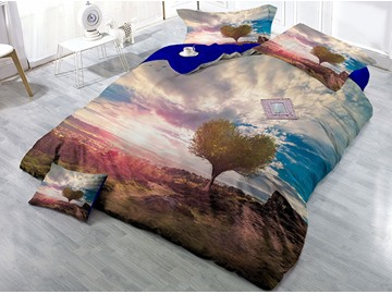 Heart Shaped Tree and Nature Scenery Printing 4-Piece 3D Bedding Sets/Duvet Covers