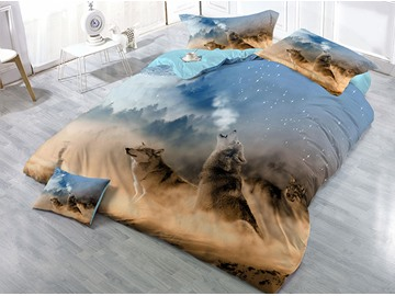 Wolves Howling and Mountain Printing 4-Piece 3D Bedding Sets/Duvet Covers