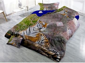 Lying Tiger Digital Printing 3D 4-Piece Bedding Sets/Duvet Covers