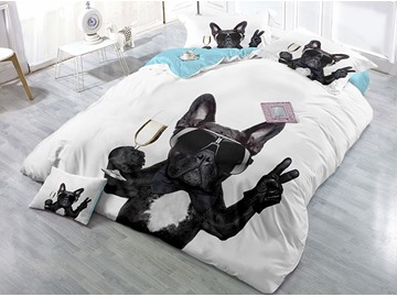 Black Dog Make the V Sign Digital Printing 4-Piece Bedding Sets/Duvet Covers