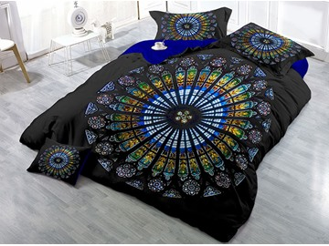 Multi Color Circle Shape Printing 4-Piece 3D Bedding Sets/Duvet Covers