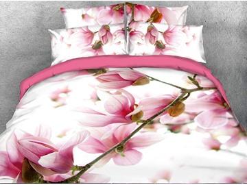 Vibrant Pink Flower Digital Printing 3D 5-Piece Comforter Sets