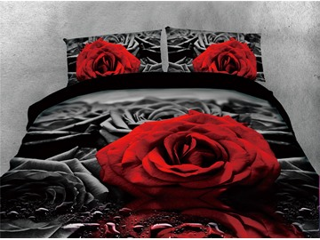 Red Rose and Water Black Printing 3D 5-Piece Comforter Sets