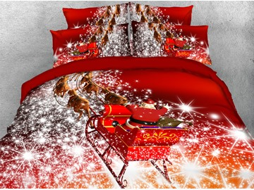 Reindeer Pull Santa's Sleigh and Snowflake Printed 3D 4-Piece Christmas Bedding Sets/Duvet Covers