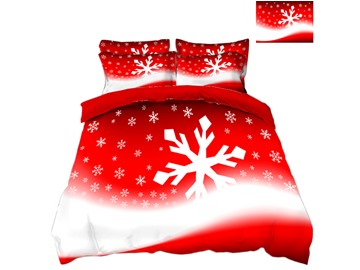 Snowflake Printed 3D 4-Piece Christmas Bedding Sets/Duvet Covers