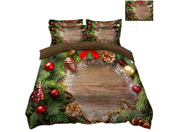 Christmas Tree Leaves and Ornaments Printed 3D 4-Piece Bedding Sets/Duvet Covers