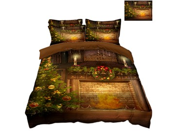 Christmas Tree with Decorations and Stove Printed 3D 4-Piece Bedding Sets/Duvet Covers