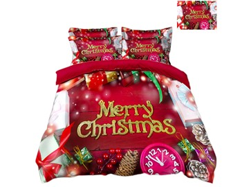 Merry Christmas and Decorations Red Printed 3D 4-Piece Bedding Sets/Duvet Covers