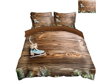Ski boots and Wood Printed 3D Christmas 4-Piece Bedding Sets/Duvet Covers